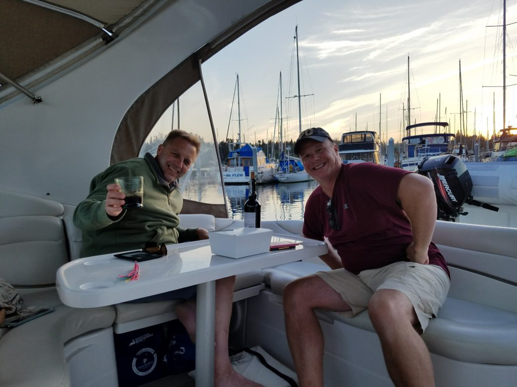 friends boating wine
