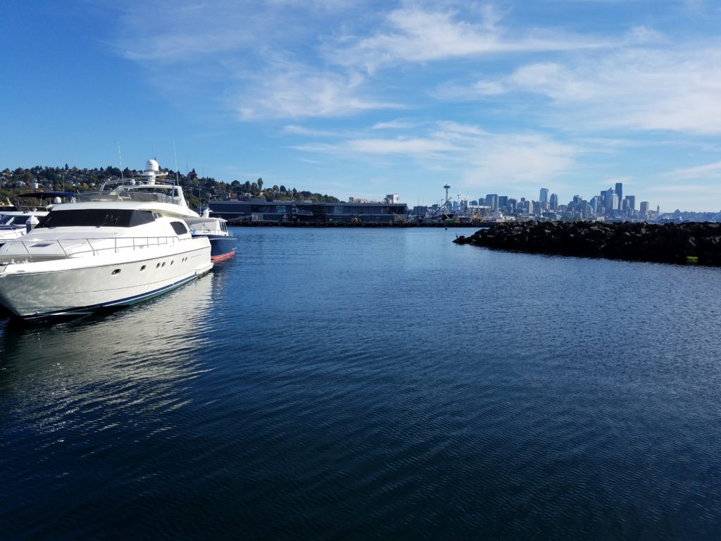 fall boating downtown Seattle view marina